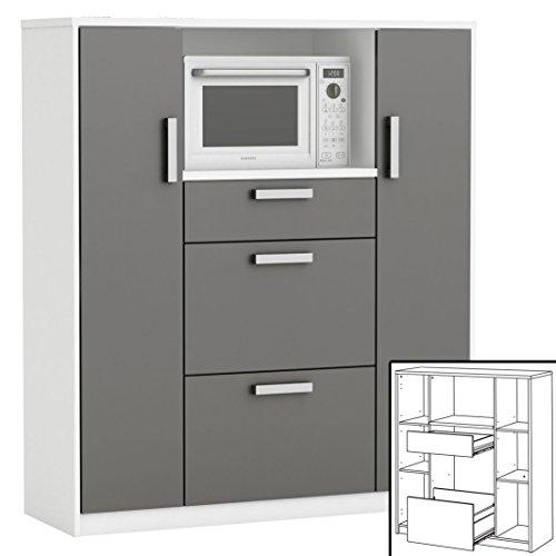 moderner Küchenschrank #8540 weiß grau Miniküche Küchenzeile Küchenregal Schrank