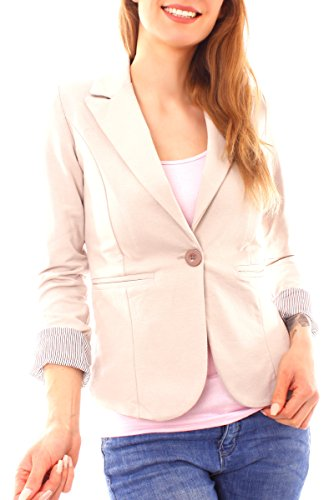 Easy Young Fashion Damen Casual Sweat Jersey Blazer Jacke Sweatblazer Jerseyblazer Kurz Gefüttert 3/4 Arm Beige XS 34 (S)