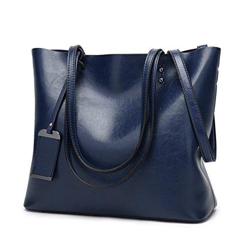 Borsa a tracolla di modo retro di acquisto della borsa di cuoio dellunità di elaborazione portatile delle donne 32 * 12 * 29cm Blu
