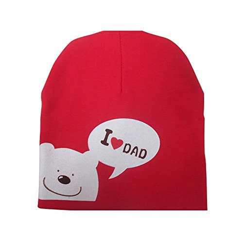 I Love MOM/Dad Cartoon Bear Knitted Cotton Bonnet Casquette Cute Baby A Chaud Spring Autumn Hats Caps for 0,5–3Years Old Children