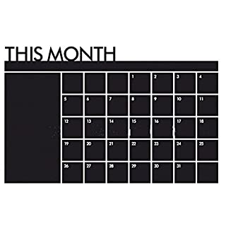 Ainstsk Monthly Calendar Wall Sticker,Monthly Planner To Do List Memo Board Chalkboard Blackboard Sticker Wall Calendar For Home Office 60cm X 92cm (Black)