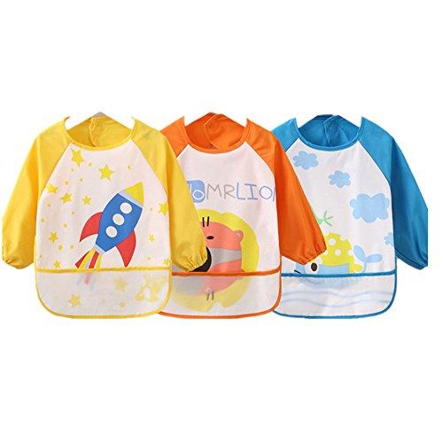 sohv Unisex Kinder Childs Künste Handwerk Malerei Schürze wasserdicht Baby Lätzchen mit Ärmeln und Tasche, 6–36Monate, Gelb, wird von 3 (Bay Back Gelb)