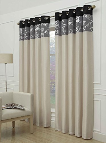 """Monaco"" Black 66″ w X 72″ d Eyelet Ring Top Designer Lined Curtains, – Choice Of 8 Sizes And 3 Colours"