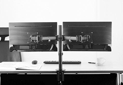 RICOO Support PC pour 2 ecrans TS5811 Double Bras orientable inclinable TV sur Pied Meuble de Bureau écran Ordinateur télé 4K OLED Plat Moniteur Informatique articulé VESA 75x75 100x100 / No