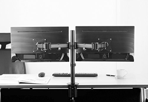 fernseher 26 zoll full hd RICOO Monitor Tischhalterung für 2 Monitore Monitorhalterung TS5811 Monitorständer Schwenkbar Neigbar Höhenverstellbar Bildschirmständer Tisch Ständer Monitorhalterungen VESA 75x75 100x100 Schwarz
