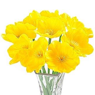 MEIWO Flores Artificiales, 10 Pcs Real Toque Látex Amapolas Artificiales Flores en Floreros para Decoración de Boda/Decoración para el Hogar/Parte/Graves Arreglo