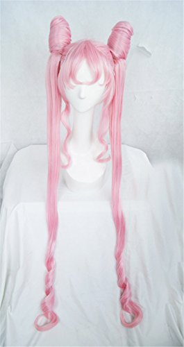 LanTing Cosplay Perücke Sailor Moon Pink Black Lady lolita bun styled Frauen Cosplay Party Fashion Anime Human Costume Full wigs Synthetic Haar Heat Resistant (Kostüme Mann Sailor)