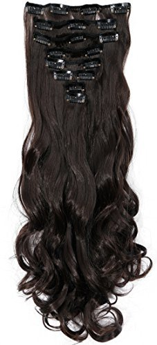 S Noilite24 Inches Long Curly Wavy Dark Brown Clip In On 8 Pieces Full Head Set Hair Extensions 8pcs Hairpiece Extension For Girl Lady Women