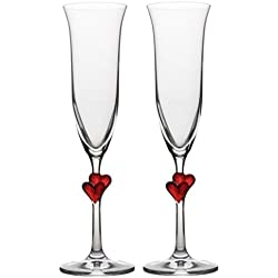 Stölzle Lausitz Copas para vino espumoso L´Amour corazones rojos, de 175 ml, juego de 2, aptas para lavavajillas: Romántico dúo de copas para disfrutar en pareja del vino espumoso