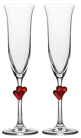 Stölzle Lausitz L´Amour Sektkelche mit roten Herzen, 175ml, 2er Set, spülmaschinenfest, romantisches Sektglas-Duo, hochwertige Qualität, spülmaschinenfest