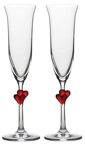 Flûtes à champagne L'Amour de Stölzle Lausitz, avec des cœurs rouges, 175 ml, lot de 2, lavables au lave-vaisselle : un duo de flûtes à champagne romantique pour les plus beaux moments à deux accompagnés de champagne