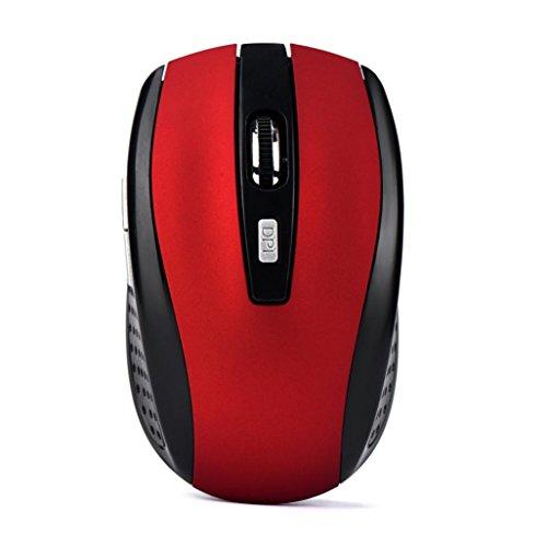 Preisvergleich Produktbild Vovo Wireless Gaming Mouse,  2, 4 GHz Wireless Gaming Mouse USB Empfänger Pro Gamer für PC Laptop Desktop (Rot)