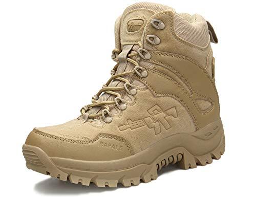 SINOES Schuhe Herren Sportschuhe Sneaker Running Wanderschuhe Outdoorschuhe Boots Stiefel Männer Militärstiefel Taktische Wüste Kampf Ankle Boot Armee Arbeit Schuhe (46 EU, A09 Wüstengelb) Wasserdicht Arbeit Schuh