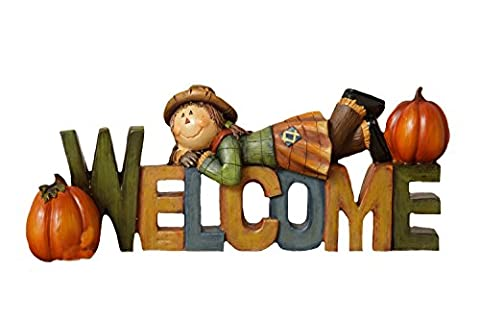 Your Hearts Delight Welcome Fall Fun Word Sign, Multi-Colour, 9-1/2 x 2-3/4 x 3-3/4-Inch
