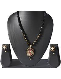 AyA Fashion Designer Traditional Japuri Necklace Set With Black Beads Chain And Beautiful Meenakari Work Pendent...
