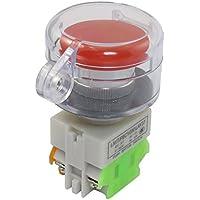 SODIAL(R) AC 660V 10A Interruptor de boton pulsador momentaneo seta rojo 1NO 1NC con cubierta