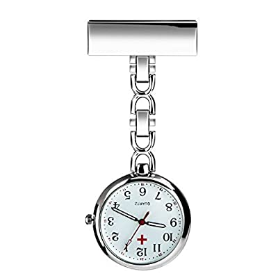 BestFire Nurse Lapel Pin Watch Clip-on Hanging Medical Pocket Watch Men Women Quartz Hanging Doctor Pocket Watches Nurses Watch with Gift Box : everything £5 (or less!)