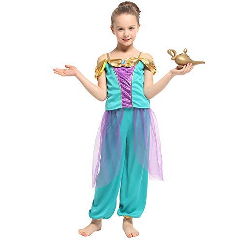 LOLANTA Mädchen Aladdin Prinzessin Dress Up Kostüme Kind Jasmine Halloween Party Kostüm (134/140 (8-9 Jahre))