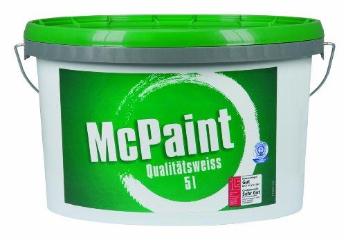 McPaint Wandfarbe Qualitätsweiß für den Innenbereich, matt 5 Liter, weiß - weitere Größen verfügbar