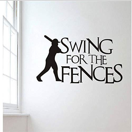 tzxdbh Baseball Styling Wandaufkleber Für Kinderzimmer Schaukel Für Die Zäune Kreatives Zitat Wandtattoo Removable Schlafzimmer Decor 33 * 58 cm -