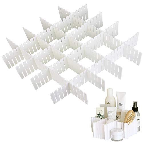 LYTIVAGEN 8 Stück Schubladenteiler Verstellbar Fachteiler Weiße Schubladeneinteiler Schubladenraster für Möbel des Schlafzimmer, Badezimmer, Küche, Keller und Büro(Ohne BAP) - Regal Teiler Set