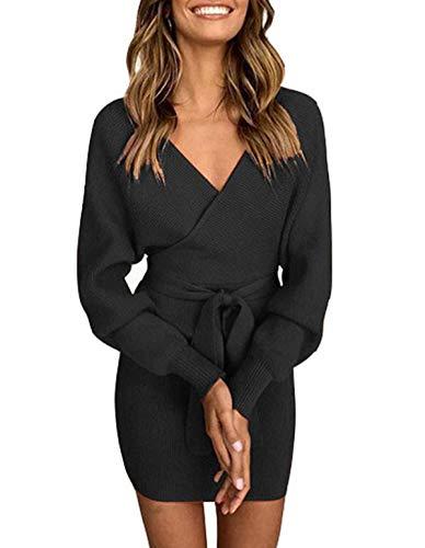 ZIYYOOHY Damen Elegant Pulloverkleid Strickkleid Tunika Kleid V-Ausschnitt Langarm Minikleid Mit Gürtel (S(36), Schwarz)