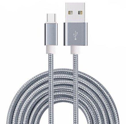 Preisvergleich Produktbild Rivero (Gray) Anti Tangle Micro USB Reversible Nylon Geflochtene High Speed Aufladen und zur Daten Syncing Transfer-Kabel 1 Meter Länge Kompatibel für Sony Xperia X Compact