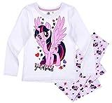 Pony My Little Schlafanzug Mädchen Lang Rundhalsausschnitt (Weiß-Lila, 116)