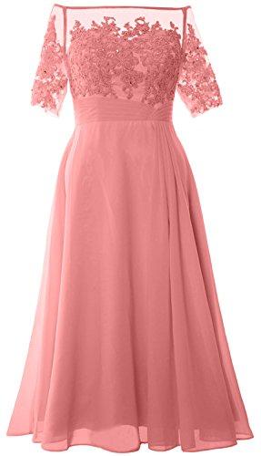 MACloth Women Off Shoulder Mother of Bride Dress Tea Length Formal Evening Gown Zartrosa