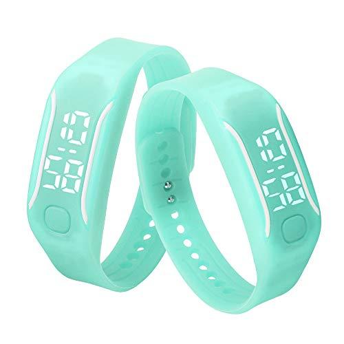 Bestow Moda LED Deportes Correr Reloj LED Reloj Neutral Fecha Pulsera de Goma Reloj de Pulsera Digital(Azul Claro)
