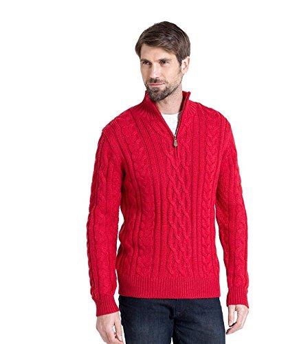 WoolOvers Pull irlandais en maille torsadée à col zippé - Homme - Pure laine red