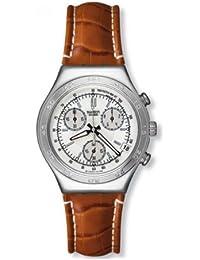 Swatch Herren-Armbanduhr XL Analog Quarz Leder YCS457
