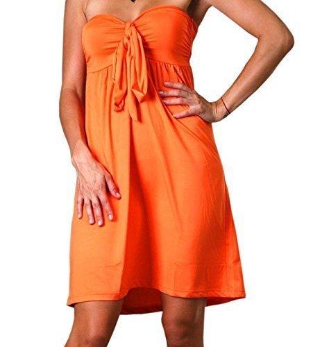 Robe Angela Tube Bandeau à la Hauteur du Genou, Robe de Vacances Orange