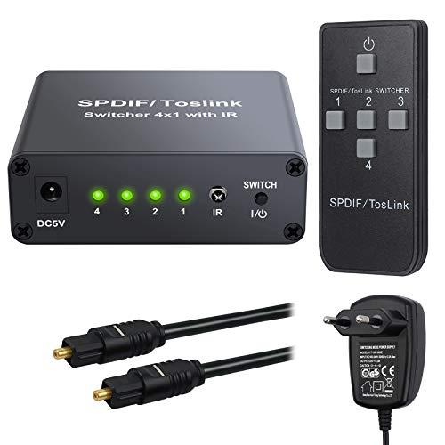 eSynic 4 Port Toslink Switch mit IR Fernbedienung 4x1 SPDIF Digitaler Optischer Audio Umschalter mit 2M Optischem Kabel und Netzteil Unterstützt DTS Dolby AC3 für PS3 PS4 XBOX One HDTV Blu-ray-Player 4 X Audio -