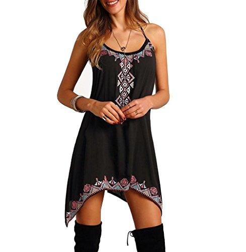 Tomatoa Damenkleider Damenkleider Böhmische reizvolle Frauen Sleeveless Partei-Sommer-Strand-Kurzschluss-Minikleid-Kleid-Rock-Bügel-reizvolles Kleid (S, Schwarz)