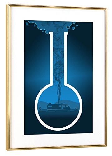 """Preisvergleich Produktbild artboxONE Poster mit Rahmen Gold 75x50 cm """"Bad Break blau"""" von HDMI2K - gerahmtes Poster"""