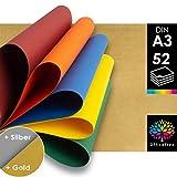 OfficeTree Tonpapier Bunt A3-10 Farben mit Gold- und Silberbögen - Buntes...