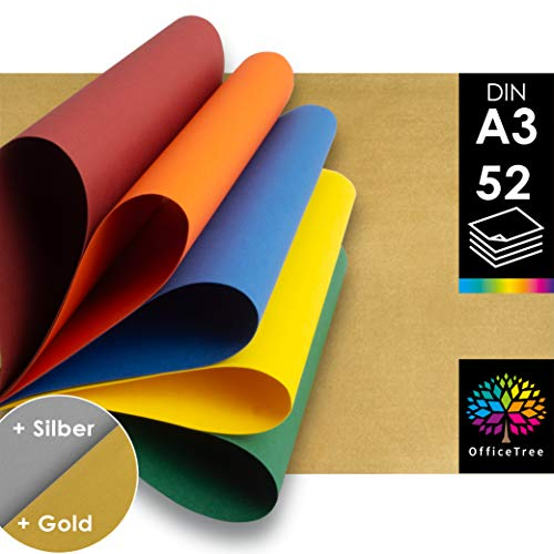 OfficeTree 52 Papel Color A3 - 130g/m² niños cartulina