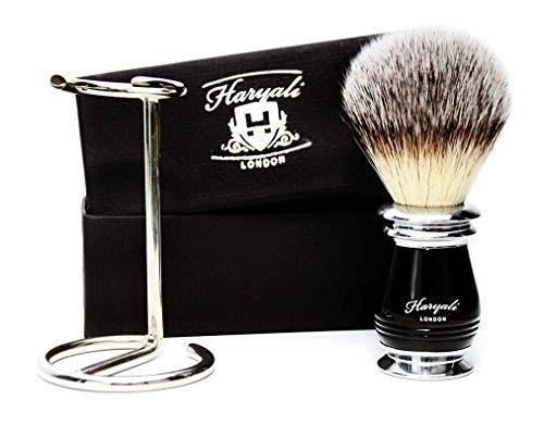Reines Weißes Haar-Rasierpinsel für Herren mit Neu Entwickelt Handstück in Schwarz & Metall Farbe Pinsel Halter / Ständer Lieferung einer Sehr Speziell Verpackung. Geschenkideen für (Lieferung Eine Spezielle Sehr)