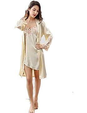 Merciy Set pigiama con vestaglia da donna, a maniche lunghe, in pizzo di seta di alta qualità, Sexy Fiore ricamo...
