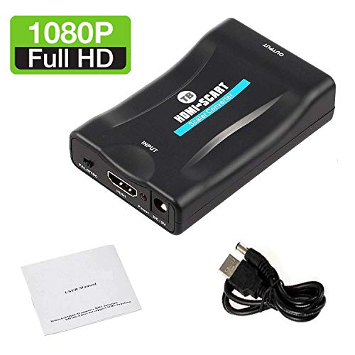 HDMI to SCART Converter Adapter 1080P HDMI to SCART Adaptor HDMI Input SCART Output Adaptor For SKY Blu-Ray Player HDTV Xbox DVD laptop, tablet, Netflix by TB (Blu-ray-dvd-player Vcr)