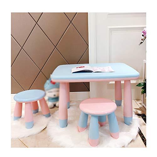 ZHAOHUI Kindertisch Mit Stühlen Baby Studie Tisch Und Stuhl Set Kleiner Hocker Spiel Abspielen Essen Schlafzimmer Last 80 Kg, 5 Farben (Color : E) -