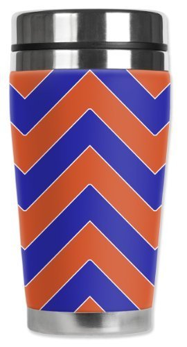 Mugzie Thunder Football Colors Chevron Travel Mug with Insulated Wetsuit Cover, Multicolor by Mugzie
