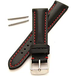 18mm Leather Watch Strap - Heavy Padded with Red Stitching and Buckle - New Spring Bars Supplied