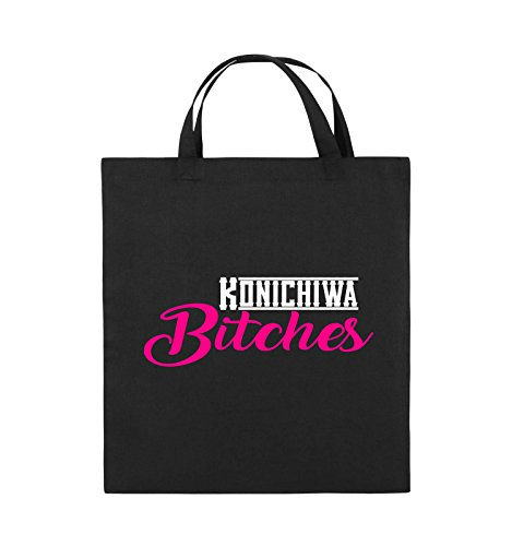 Comedy Bags - KONICHIWA Bitches - Jutebeutel - kurze Henkel - 38x42cm - Farbe: Schwarz / Weiss-Neongrün Schwarz / Weiss-Pink
