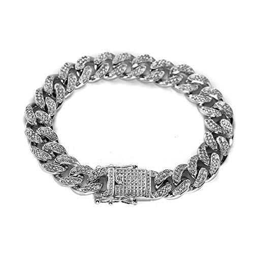 Hip Hop Cuban Link Armband für Männer 12mm Iced Out CZ Armband Edelstahl Armband Curb Cuban Chain
