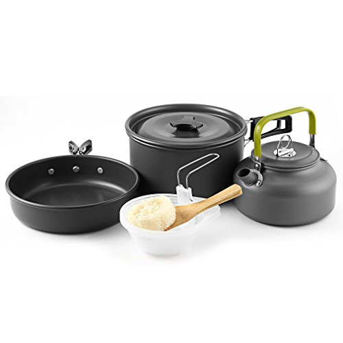 OUTAD 9pcs New Outdoor 9pcs Camping Hiking Cookware Backpacking Cooking Picnic Bowl Pot Pan Set