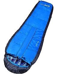 KingCamp Junior chicos chicas ligero momia saco de dormir 100% algodón forro para senderismo Camping (azul)