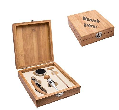 Wein-Set Bambus 4-teilig Kellnermesser inkl.Wunschgravur Gravur graviert , Weinset Thermometer,...