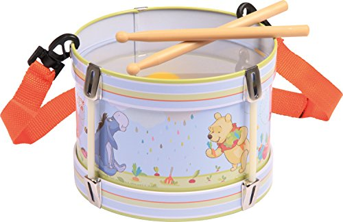 Bolz 52634 - Blechrommel Disney's Winnie the Pooh, Ø 17 cm, Kindertrommel aus Blech mit 2 Schlägel und Tragegurt, Instrument für Kinder ab 3 Jahre, Schlaginstrument zum Üben von Taktgefühl und Rhythmus, Musikinstrument, Trommel mit Disney Motiv